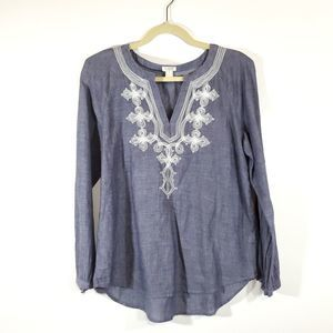 J. Crew Embroidered Chambray Top Blue & White